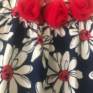 Daisy Print Dress in Red, White & Blue Girl Size 6